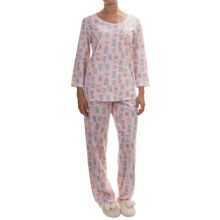 Carole Hochman Printed Cotton Jersey Pajamas - Elbow Sleeve (For Women) in Pink Clocks - Overstock