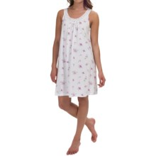Carole Hochman Printed Lace-Trim Chemise - Sleeveless (For Women) in Twin White - Overstock