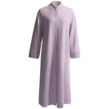 Carole Hochman Quilted Zip Front Long Robe - Long Sleeve (For Women) in Lavender Vista - Closeouts