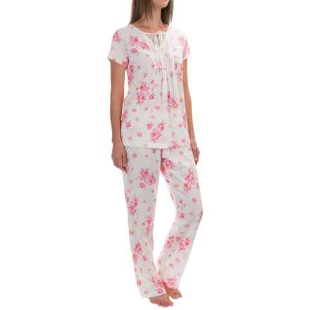 Carole Hochman Tie Pajamas - Short Sleeve (For Women) in White Rose - Overstock