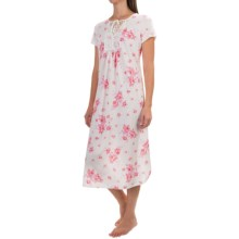 Carole Hochman Tie-Top Nightgown - Short Sleeve (For Women) in White Rose - Overstock