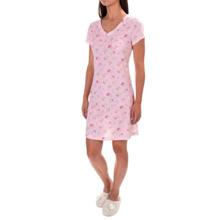 Carole Hochman V-Neck Jersey Nightshirt - Short Sleeve (For Women) in C01 Peachy Floral - Closeouts