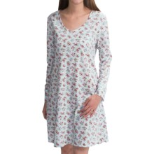 Carole Hochman V-Neck Nightshirt - Long Sleeve (For Women) in Ditsy Bouquets - Closeouts