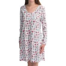 Carole Hochman V-Neck Nightshirt - Long Sleeve (For Women) in Sweet Scents - Closeouts