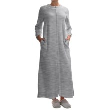 Carole Hochman Waffle-Knit Robe - Full Zip, Long Sleeve (For Women) in Grey Heather - Overstock