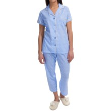 Carole Hochman Woven Pajamas - Short Sleeve (For Women) in Blue Dots - Closeouts