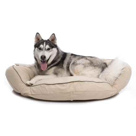 "Carolina Pet Classic Canvas Bolster Round Dog Bed - 35"" in Khaki/Sage Cording - Closeouts"
