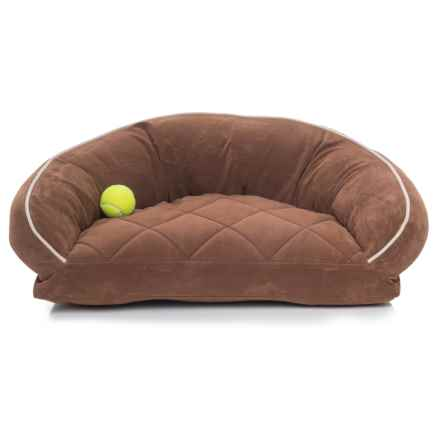 "Carolina Pet Microfiber Lounge Dog Bed - 27x19"" in Chocolate W/Linen Piping - Closeouts"