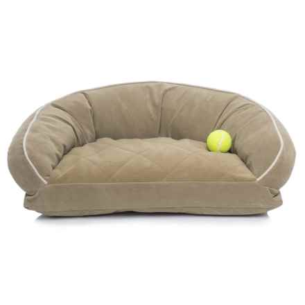 "Carolina Pet Microfiber Lounge Dog Bed - 27x19"" in Sage W/Linen Piping - Closeouts"