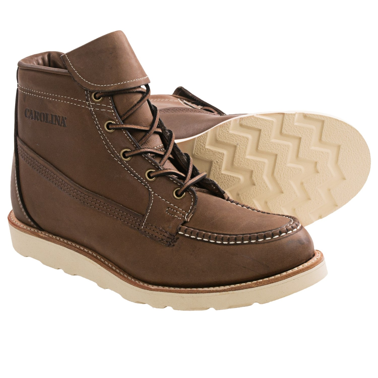 carolina shoe grain leather work boots for