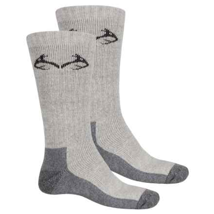 Carolina Ultimate Realtree® Boot Socks - 2-Pack, Cotton Blend, Crew (For Men) in Grey - Overstock