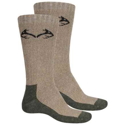 Carolina Ultimate Realtree® Boot Socks - 2-Pack, Cotton Blend, Crew (For Men) in Hemp/Olive - Overstock