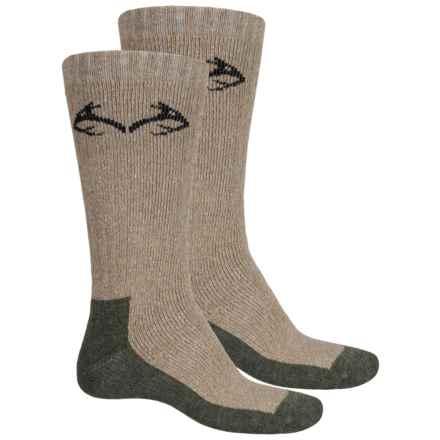 Carolina Ultimate Realtree® Boot Socks - 2-Pack, Cotton Blend, Crew (For Men) in Hemp/Olive - Overstock
