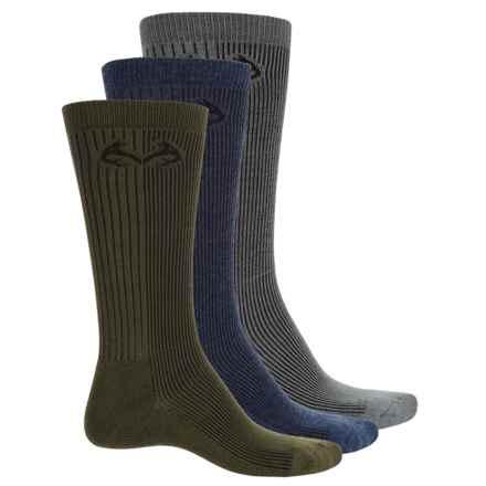 Carolina Ultimate Realtree® Hunting Socks - 3-Pack, Crew (For Men) in Gray/Denim/Green - Closeouts