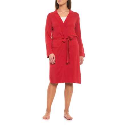 Caroline Grace Luxe Blend Kimono Robe - Knee Length, Long Sleeve (For Women) in Nantucket Red - Closeouts