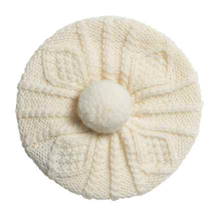 Carraig Donn Handknit Beret-Style Hat - Merino Wool (For Little Kids) in Off White - Closeouts