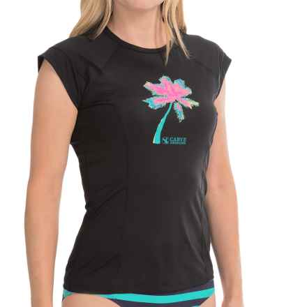Carve Designs Belles Beach Rash Guard - UPF 50+, Short Sleeve (For Women) in Black - Closeouts