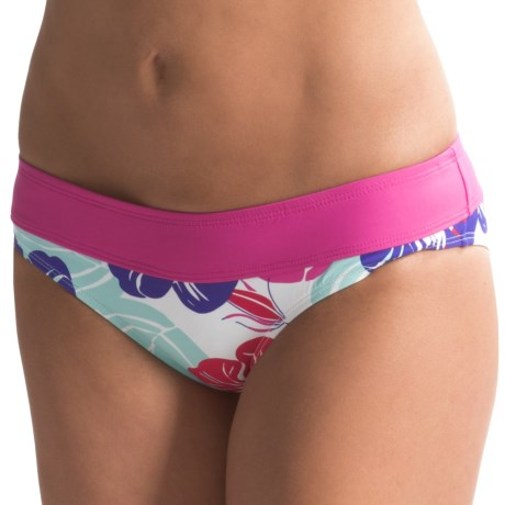 Carve Designs Catalina Bikini Bottoms - UPF 50+, Four-Way Stretch (For Women) in White Hibiscus