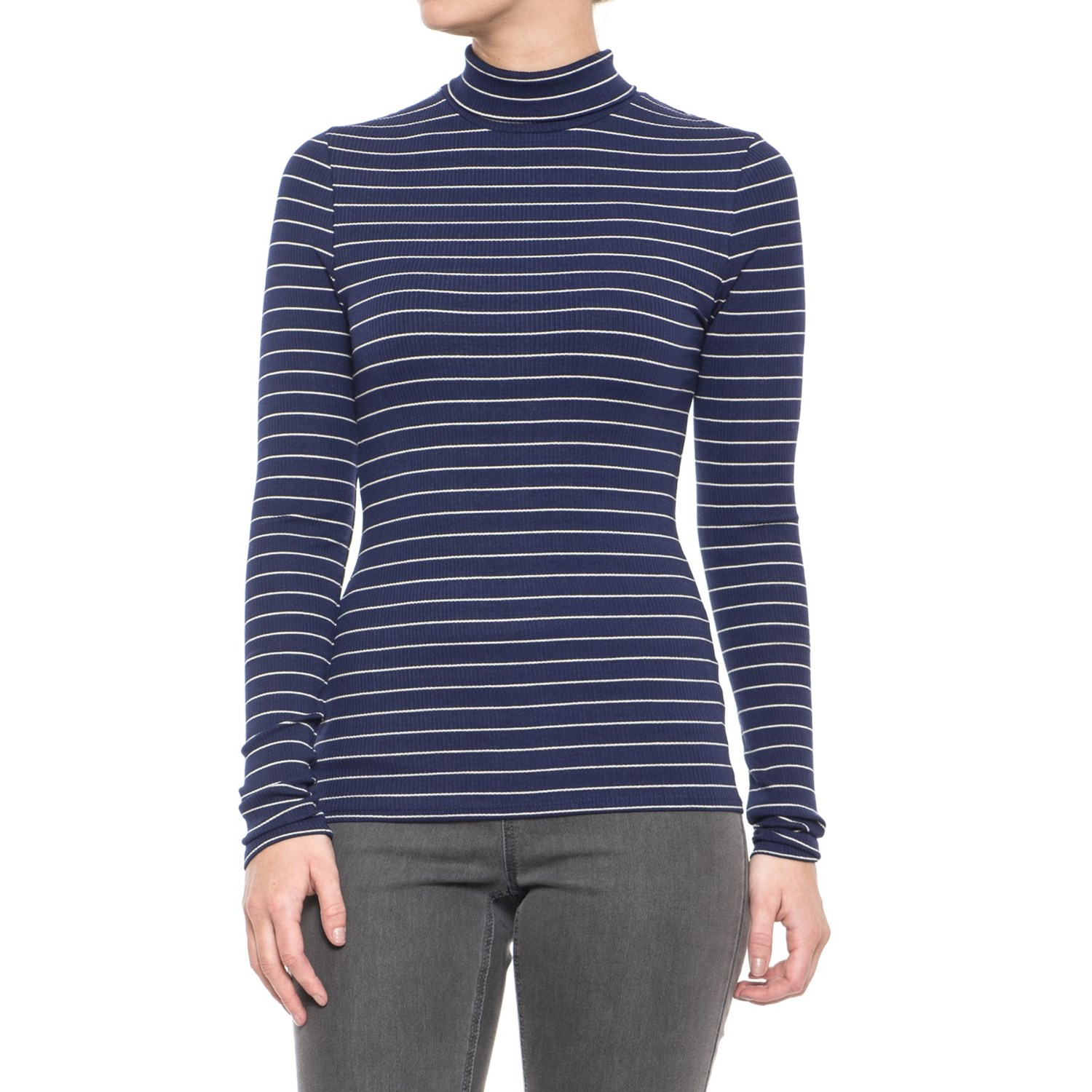 Carve Designs Cordero Ribbed Turtleneck - Long Sleeve (For Women) in Anchor  Marin Stripe ... 72b6c93fc