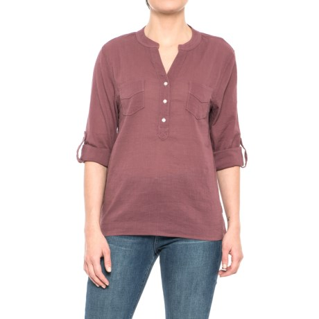 Carve Designs Dylan Gauze Shirt - Long Sleeve (For Women) in Clay