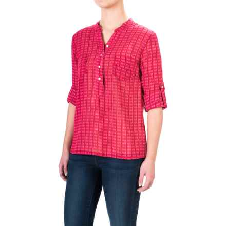 Carve Designs Dylan Gauze Shirt - Long Sleeve (For Women) in Strawberry Alpine - Closeouts