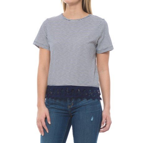 Carve Designs Jaden Lace-Trim Shirt - Organic Cotton-Micromodal®, Short Sleeve (For Women) in Anchor Caribbean Stripe