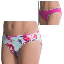 Carve Designs Janie Swimsuit Bottoms - UPF 50+, Reversible, 4-Way Stretch (For Women) in White Hibiscus/Pink - Closeouts