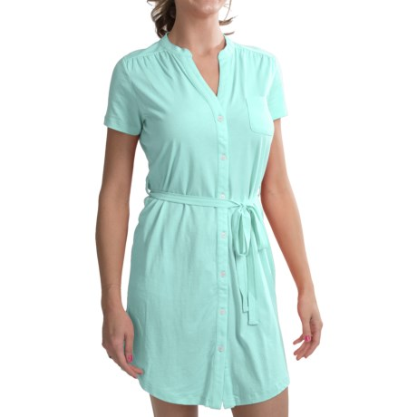 Carve Designs Logan Dress - V-Neck, Button Front, Short Sleeve (For Women) in Coral