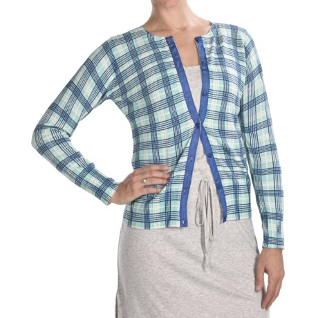 Carve Designs Wellington Cardigan Sweater - Cotton, Long Sleeve (For Women) in 506 Blurple Plaid