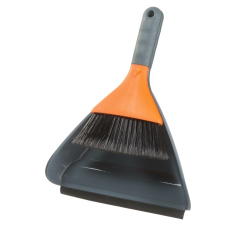 Casabella Clean Dustpan and Sweeper Set in Graphite/Orange