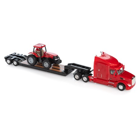 Image of Case Peterbilt Model 579 Tractor and Trailer with Case Tractor - 3-Piece