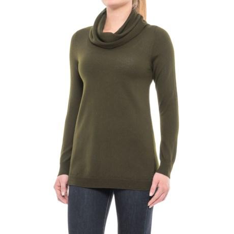 Image of Cashfeel Cowl Neck Tunic Sweater - Merino Wool, Split Back (For Women)