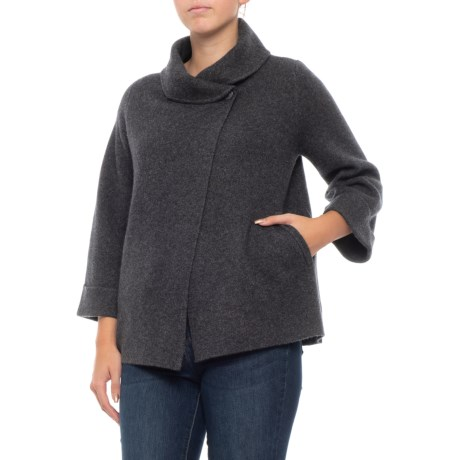 Image of Cashmere Double-knit One-Button Swacket - 3/4 Sleeve (For Women)