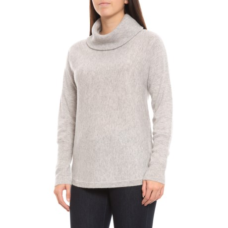 Image of Cashmere Double-Loose Pullover Tunic - Turtleneck, Long Sleeve (For Women)