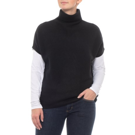 Image of Cashmere Mock Neck Stitch Pullover Sweater - Short Sleeve (For Women)