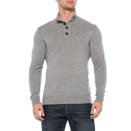 Image of Cashmere Pullover Sweater - Button Placket (For Men)