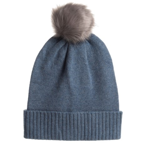 Image of Cashmere Slouchy Hat - Faux-Fur Pom (For Women)