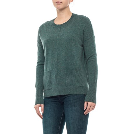 Image of Cashmere Sweater with Pockets - Crew Neck (For Women)