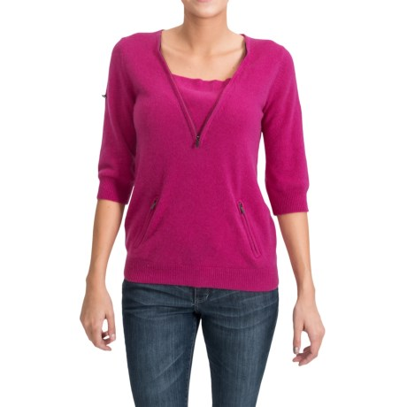 Cashmere Sweater - Zip Neck, 3/4 Sleeve (For Women) in Pink