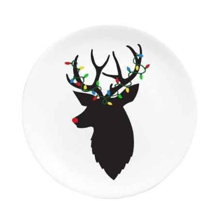"Caskata Artisanal Home Reindeer Lights Appetizer Plate - 6-1/4"" in White/Black - Closeouts"
