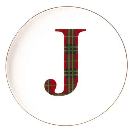"Caskata Artisanal Home Tartan Initial ""J"" Appetizer Plate - 6-1/4"" in White - Closeouts"