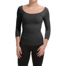 Cass Shapewear Wear Repair Scoop Top - 3/4 Sleeve (For Women) in Black - Closeouts