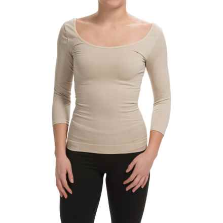 Cass Shapewear Wear Repair Scoop Top - 3/4 Sleeve (For Women) in Nude - Closeouts