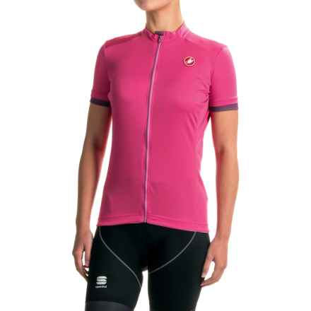 Castelli Anima Cycling Jersey - Zip Front, Short Sleeve (For Women) in Raspberry - Closeouts