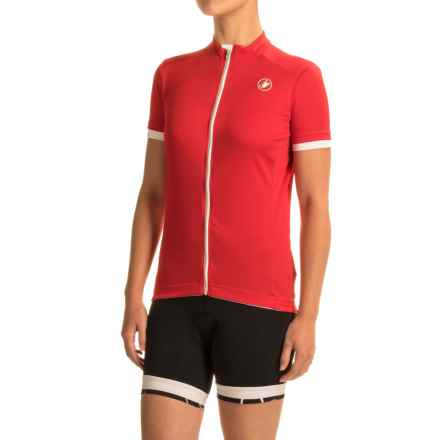 Castelli Anima Cycling Jersey - Zip Front, Short Sleeve (For Women) in Red - Closeouts