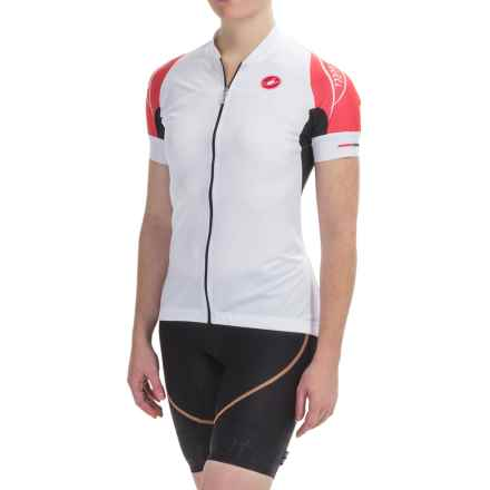 Castelli Certezza Cycling Jersey - Full Zip, Short Sleeve (For Women) in White/Coral - Closeouts