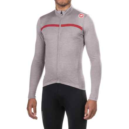 Castelli Costante Cycling Jersey - Full Zip, Merino Wool, Long Sleeve (For Men) in Luna Grey/Red - Closeouts