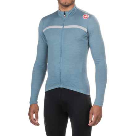 Castelli Costante Cycling Jersey - Full Zip, Merino Wool, Long Sleeve (For Men) in Mirage/Luna Grey - Closeouts