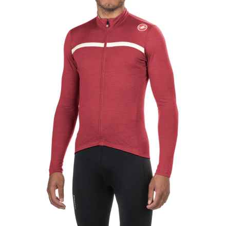 Castelli Costante Cycling Jersey - Full Zip, Merino Wool, Long Sleeve (For Men) in Ruby Red/Luna Grey - Closeouts