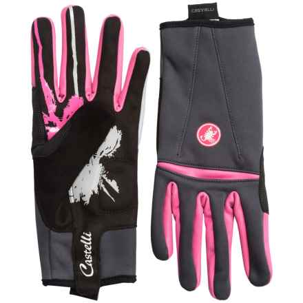 Castelli Cromo Bike Gloves (For Women) in Anthracite/Raspberry - Closeouts